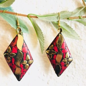 Handmade coral color Brass Earring